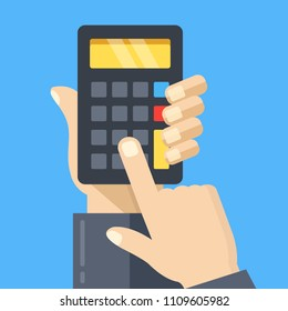Calculation. Hand holding calculator, finger touching button. Modern concept. Flat design. Vector illustration