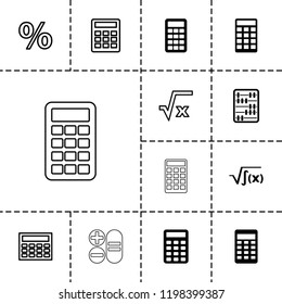 Calculation icon. collection of 13 calculation filled and outline icons such as square root, calculator, percent. editable calculation icons for web and mobile.