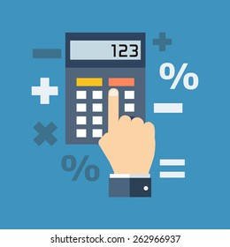 Calculation, mathematics, accountant concept. Colorful flat design icon.  Vector illustration