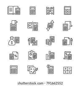 Calculation related icons: thin vector icon set, black and white kit
