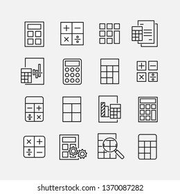 Calculation related vector icon set. Well-crafted sign in thin line style with editable stroke. Vector symbols isolated on a white background. Simple pictograms.