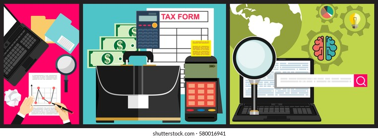 Calculation of tax return. Flat design. Tax form vector. Payment of debt.Analytics Information and Development Website Statistic.Concept of accounting and calculation. Vector illustration.