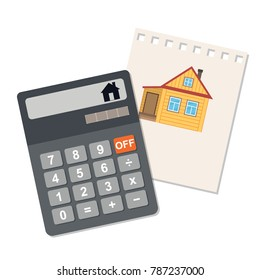 The calculation of the value of the house on an electronic calculator. Icon on white background. Vector flat illustration.