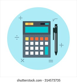 Calculator, accounting theme, flat style, colorful, vector icon for info graphics, websites, mobile and print media.