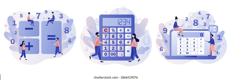 Calculator app. Tiny people with calculating. Accounting, financial analytics, bookkeeping,  budget calculation, audit debit and credit calculations. Modern flat cartoon style. Vector illustration