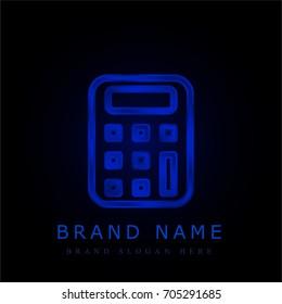 Calculator blue chromium metallic logo