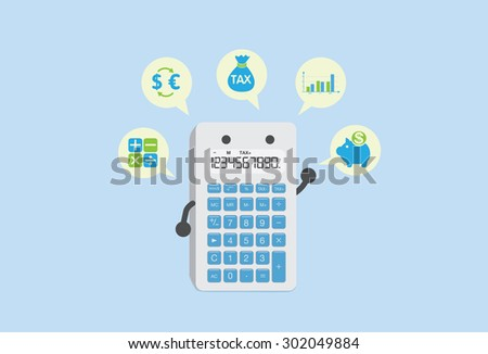 Calculator can calculate everything about finance stock vector.