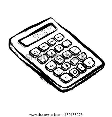 Calculator Cartoon Vector Illustration Hand Drawn Stock Vector