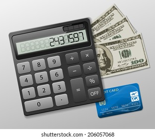 Calculator, dollars and credit card on a gray background. Business icon. Illustration, vector.