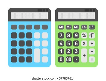 Calculator flat icons set. Vector illustration, bright colors, EPS10