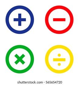 Calculator Icon. Blue. Green. Yellow. Red