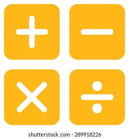 Calculator icon from Business Bicolor Set. This flat vector symbol uses yellow color, rounded angles, and isolated on a white background.