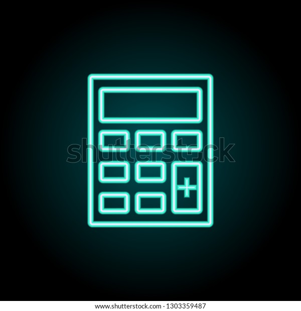 Calculator Icon Elements Logistics Neon Style Stock Vector (Royalty