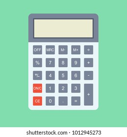 Calculator icon in flat style. Calculator isolated on a colored background. Vector electronic calculator.