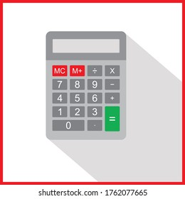 Calculator icon in flat style isolated on a white background. Vector electronic portable calculator.