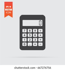 Calculator icon in flat style isolated on grey background. For your design, logo. Vector illustration.