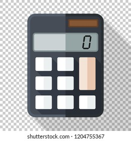 Calculator icon in flat style on transparent background