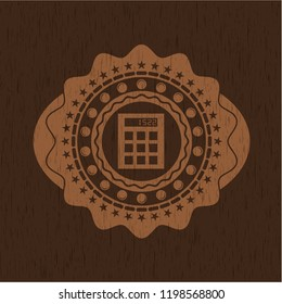 calculator icon inside wooden signboards