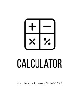 Calculator icon or logo in modern line style. High quality black outline pictogram for web site design and mobile apps. Vector illustration on a white background.