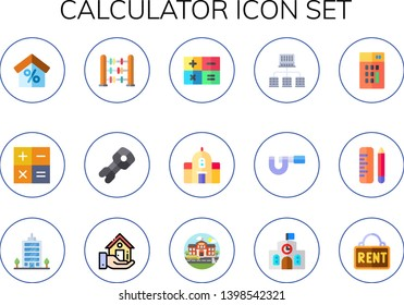 calculator icon set. 15 flat calculator icons.  Collection Of - mortgage, abacus, stem, school, offices, micrometer, office, real estate, rent