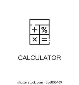 Calculator icon. Single high quality outline symbol for web design or mobile app. Thin line sign for design logo. Black outline pictogram on white background