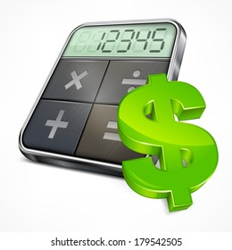 Calculator icons with dollar symbol on white, vector illustration