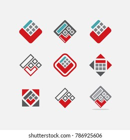 Calculator icons set in flat style. Vector illustration