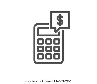 Calculator line icon. Accounting sign. Calculate finance symbol. Quality design element. Classic style. Editable stroke. Vector