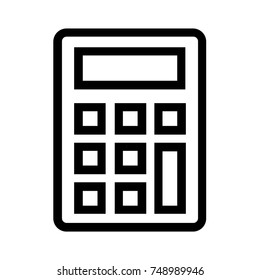 Calculator line icon. Linear style electronic device for accounting and maths calculation. Financial tool for calculating mortgage and real estate loan. Pixel perfect EPS file.