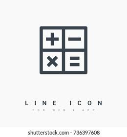 calculator line vector icon