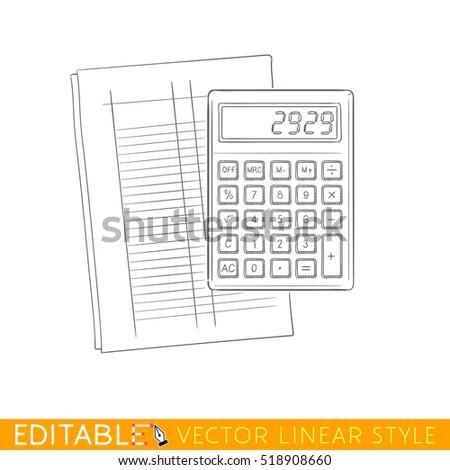 Calculator On Accounting Form Editable Outline Stock Vector (Royalty ...