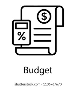 Calculator with paper having dollar sign, Budget calculation