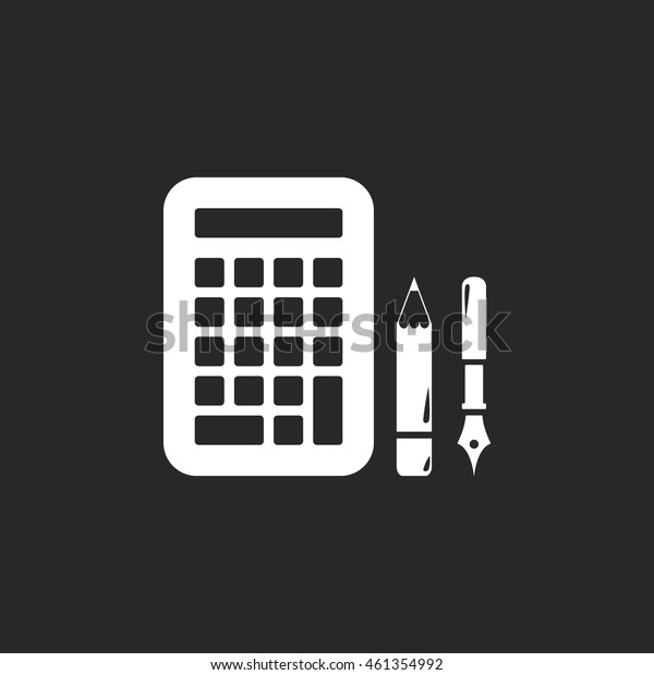 Calculator pen pencil sign simple icon on background