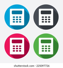 Calculator sign icon. Bookkeeping symbol. Circle buttons with long shadow. 4 icons set. Vector