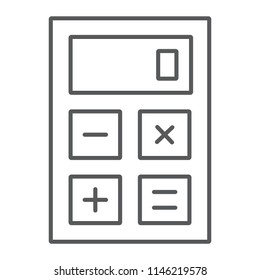 Calculator thin line icon, office and work, electronic sign, vector graphics, a linear pattern on a white background, eps 10.