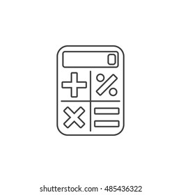 Calculator thin line icon, outline vector logo illustration, linear pictogram isolated on white
