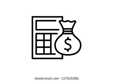 Calculator vector icon. Editable Stroke. 128x128 Pixel Perfect.