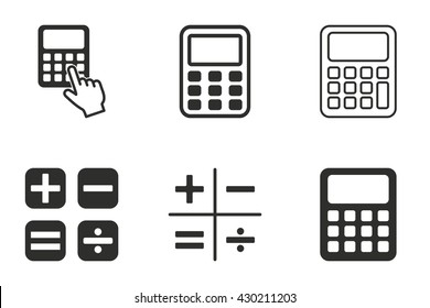 Calculator vector icons set. Black illustration isolated on white background for graphic and web design.
