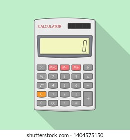 Calculator Vector Illustration With Long Shadow on green background - Vector