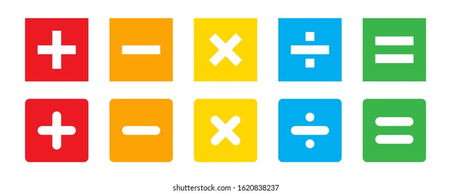 Calculator vector key isolated on white background. Addition, subtraction. Mathematical symbols icon set . Calculator, math icon. Vector pictogram.  EPS 10