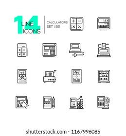9c35c1c5 Calculators - modern line design icons set. High quality black pictograms.  Different tools for. outline adding machine vector ...