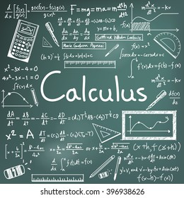 Calculus law theory and mathematical formula equation doodle handwriting icon in blackboard background with hand drawn model for education presentation or subject title, create by vector