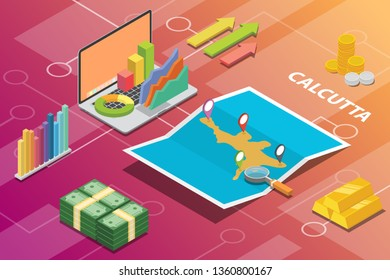 calcutta india city isometric financial economy condition concept for describe cities growth expand - vector illustration