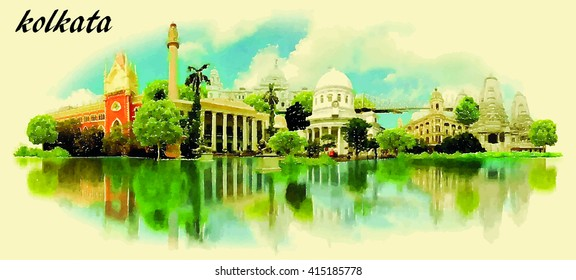 CALCUTTA vector panoramic water color illustration