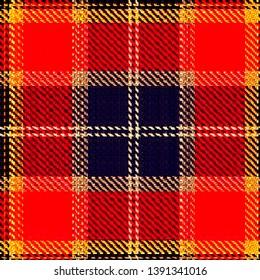 Caledonia Tartan pattern. Scottish cage. Scottish checkered background. Traditional scottish ornament. Scottish plaid in classic colors. Seamless fabric texture. Vector illustration