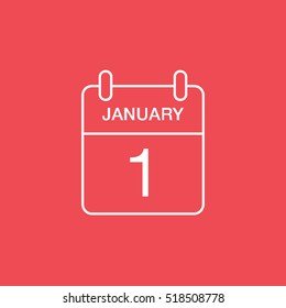 Calendar 1 January Line Icon On Red Background