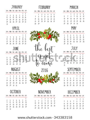 Calendar 12 Months Floral Bouquet Wishes Stock Vector Royalty Free