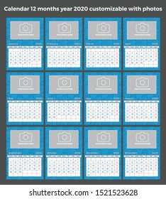 Calendar 12 months year 2020 customizable with text, photos, and colors