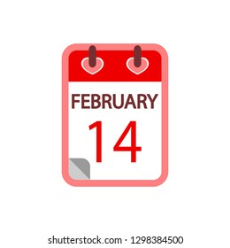 Calendar 14 february. Valentines Day Feb 14th. Icon vector flat design