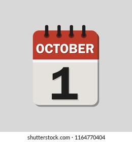 Calendar of the 1st of October. Vector illustration. Flat design for business financial marketing banking web concept cartoon illustration.